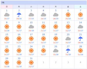那覇市天気18年7月